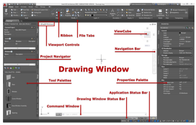 AutoCAD Architecture drawing space icons