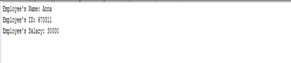 encapsulation in java output1