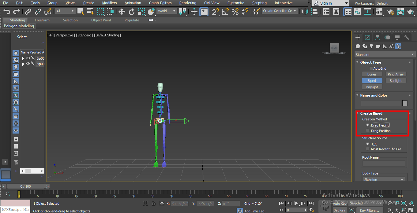 Biped in 3ds Max - First method