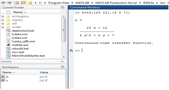 Transfer Functions in Matlab - program of Matlab