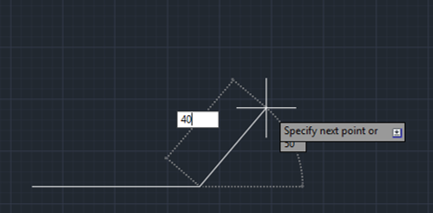 give direction and lenght (lines in AutoCAD)