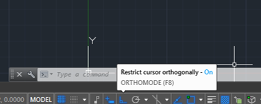 Turn ortho on (lines in AutoCAD)