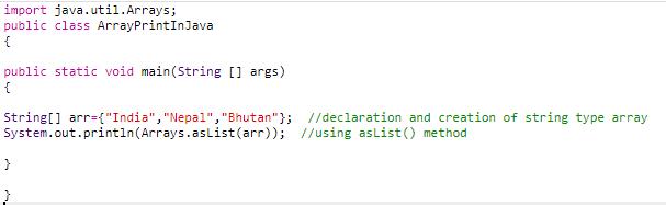 method 5 code (print array in java)