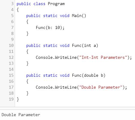 named argument (Overloading in C#)