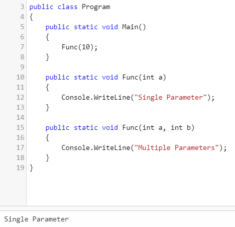 different number of parameter (Overloading in C#)