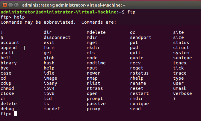 output of query in linux (FTP Server in Linux)