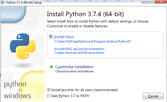 Python installation on windows Step 3