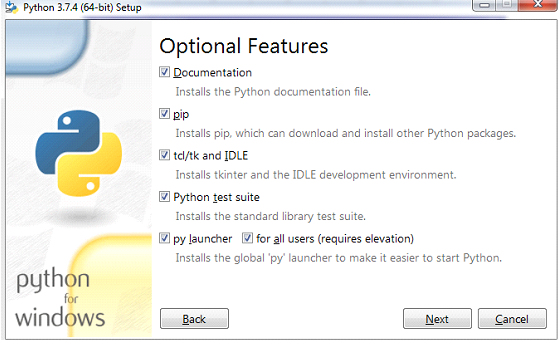 Python installation on windows Step 4.1
