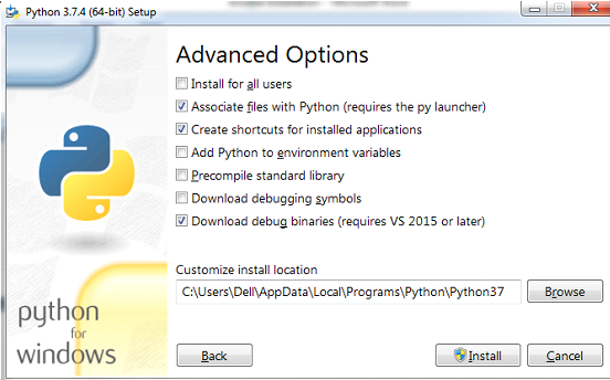 Python installation on windows Step 4.2