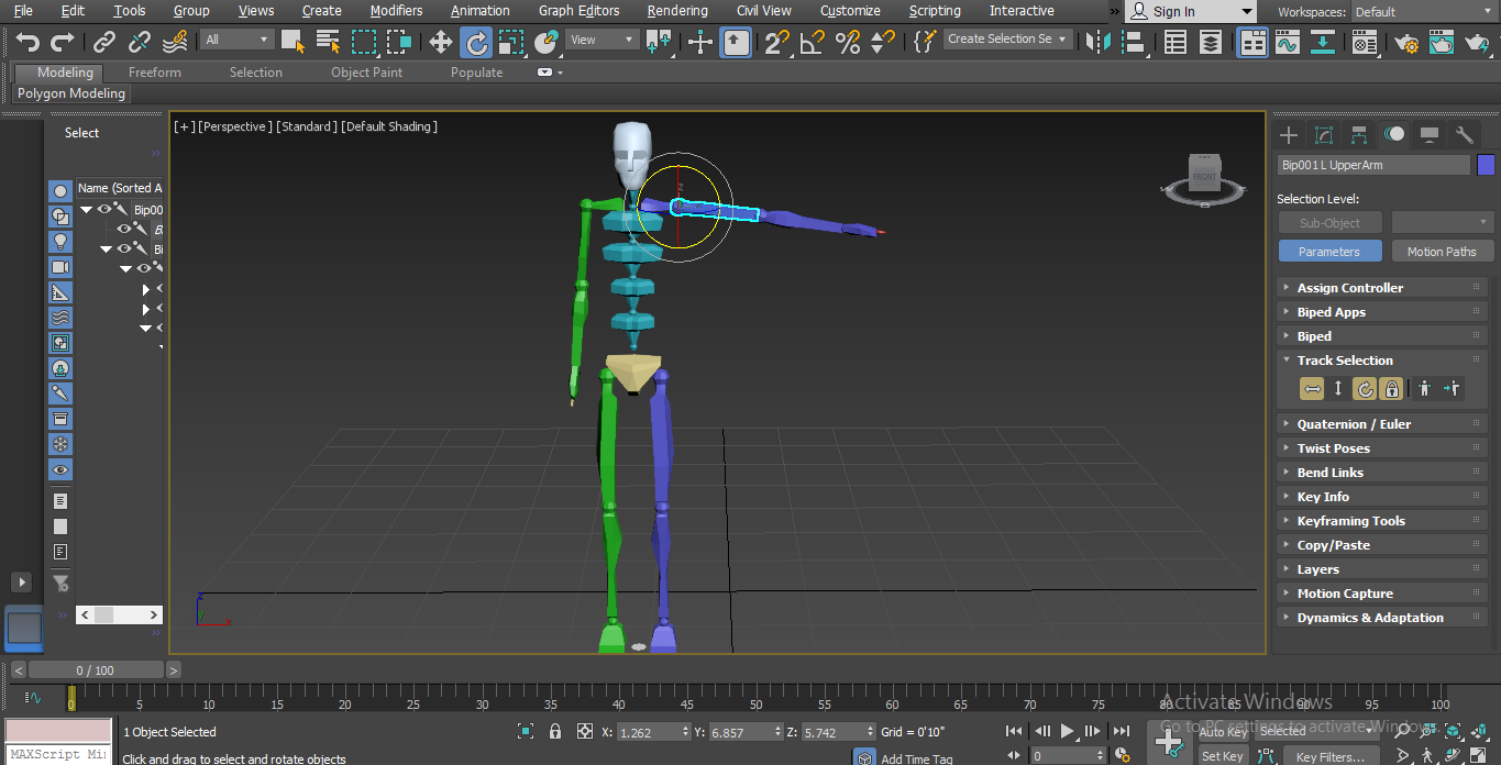 rotate single body part (Biped in 3ds Max)