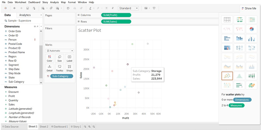 Tableau Chart Types scatter plot chart 2