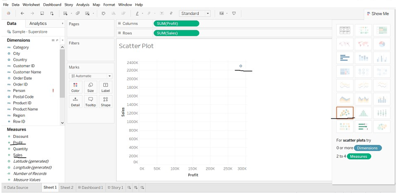 Tableau Chart Types scatter plot chart