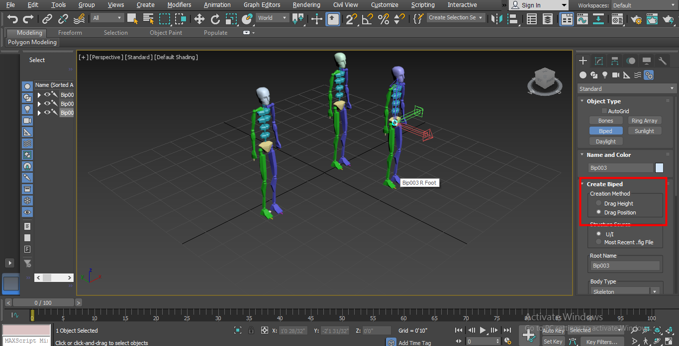 Biped in 3ds max - second position method