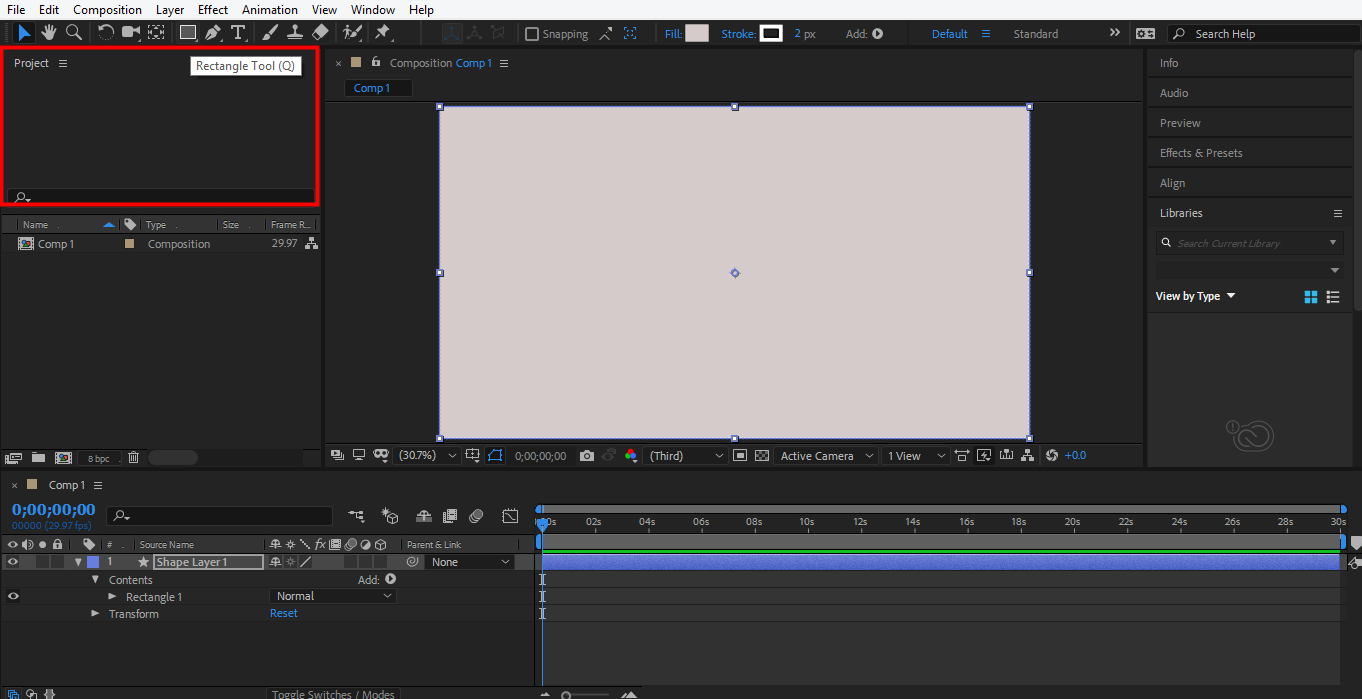 select rectangle tool in after effects