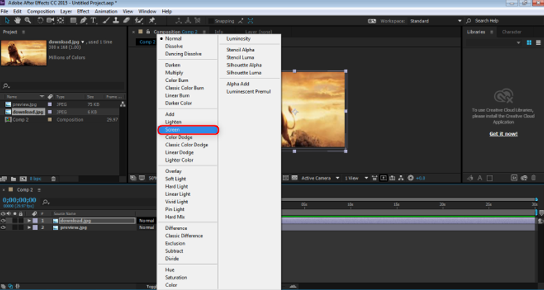 Blending Modes In After Effects - select screen