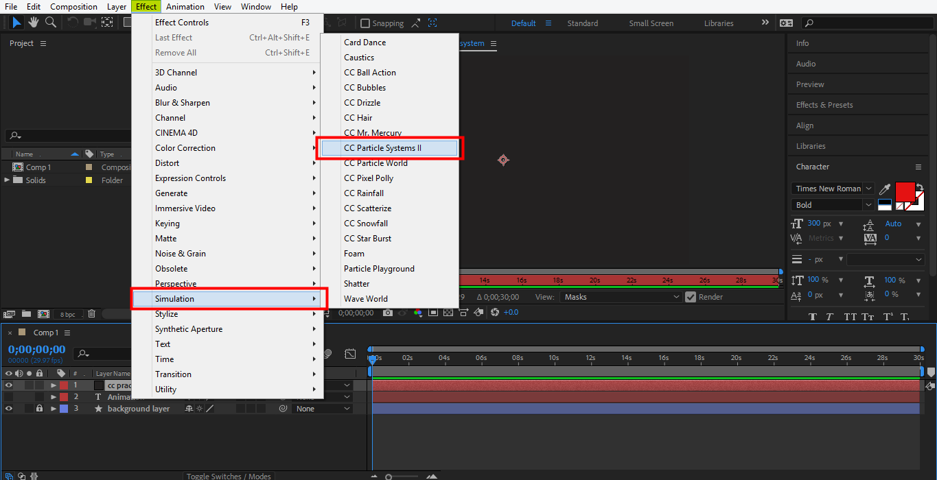 select simulation option in after effects