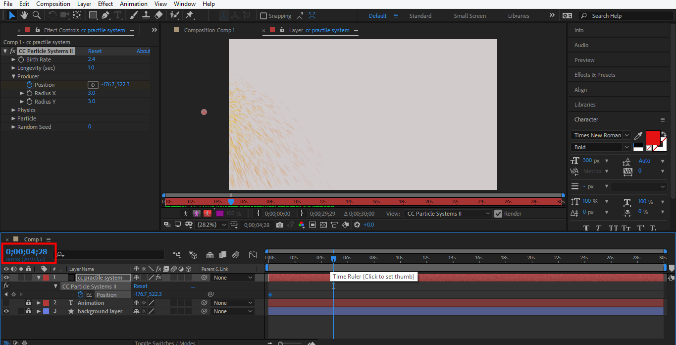 set initial point in after effect