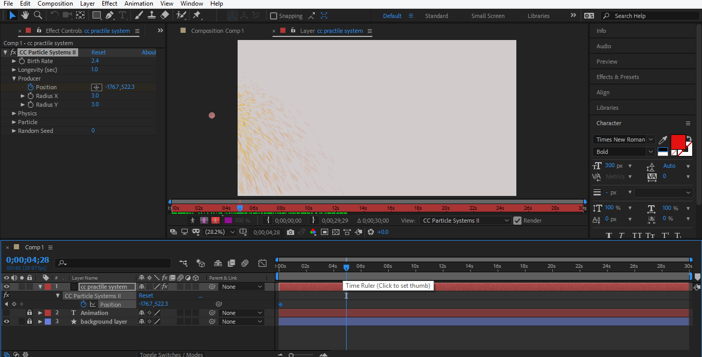 set position in after effects