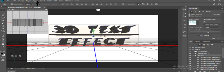 text converted in 3D