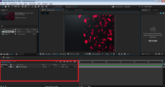 Blending Modes In After Effects - image to the timeline panel