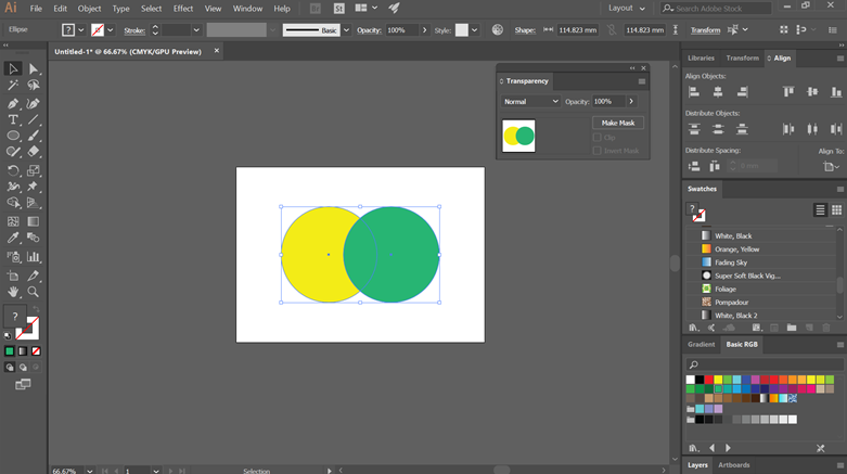 Blending Modes in Illustrator - Two circles