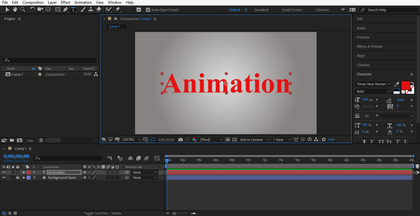 type 'Animation' in after effects