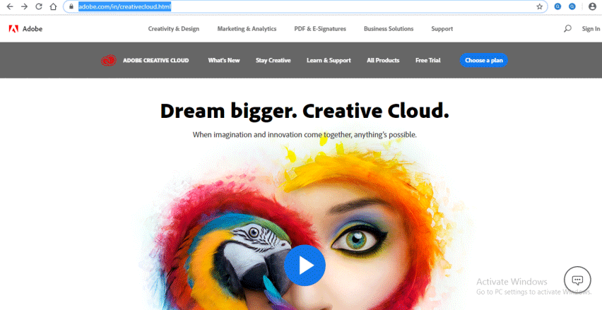 Home page of Creative Cloud - Adobe Illustrator for Windows 8