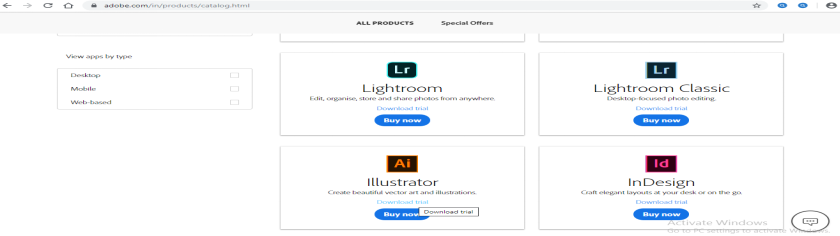 Download trial option - Adobe Illustrator for Windows 8