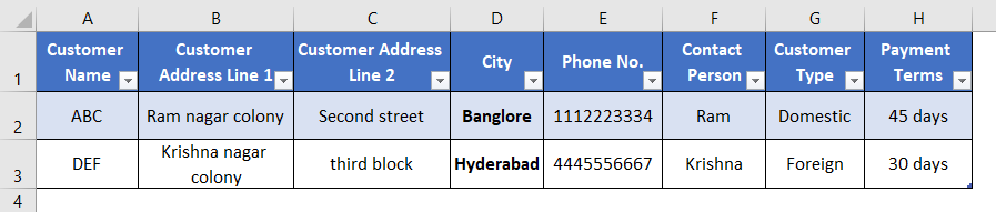 Excel Database Template 1-6