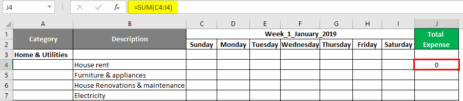 Expense tracker in Excel 1-2