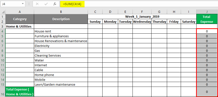 Expense tracker in Excel 1-3