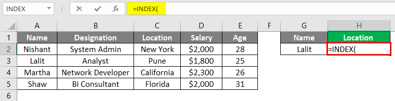 Index Match Function in Excel 1-2