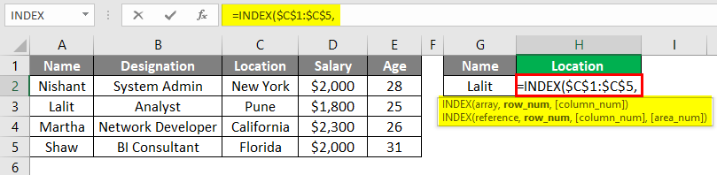 Index Match Function in Excel 1-3