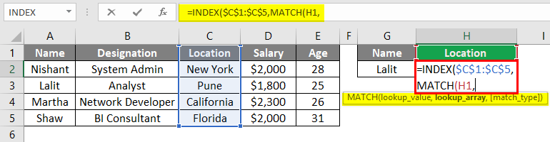 Index Match Function in Excel 1-4