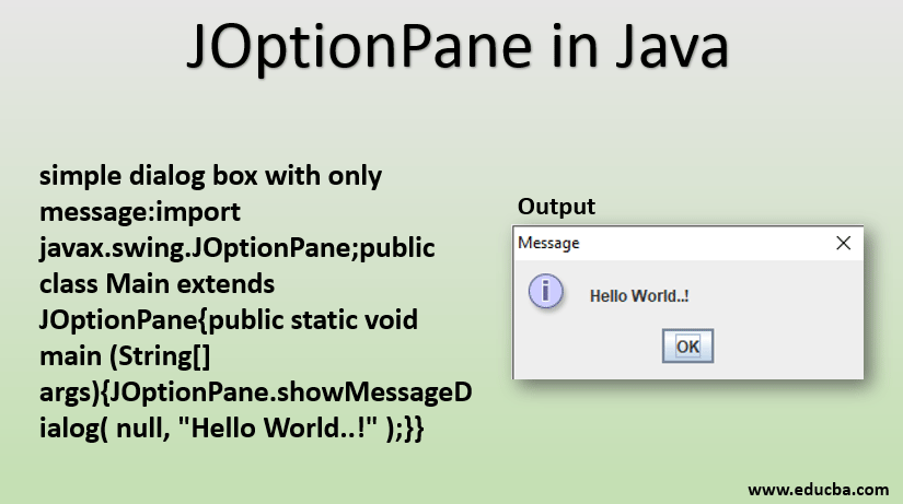 Joptionpane In Java Constructor Method Of Joptionpane