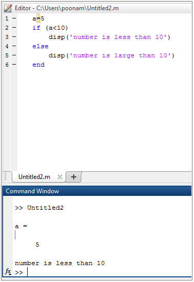 IF-Else Statement in Matlab example2