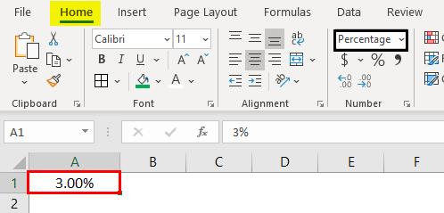 Percentage format