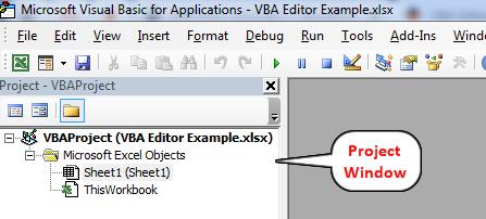 VBA Editor Project Window