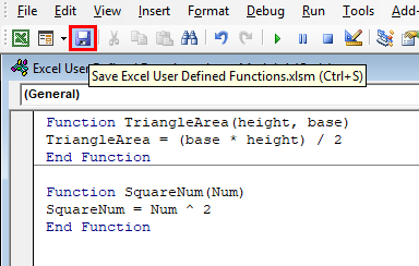 Save Excel User defined