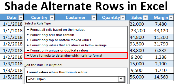 Shade Alternate Rows in Excel