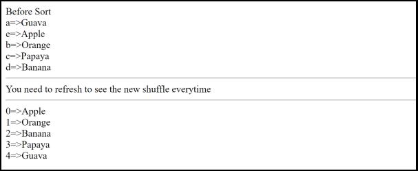 shuffle output