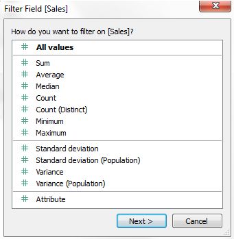 Types of filters in Tableau-1.5