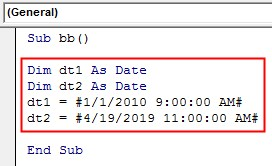 VBA DateDiff Example 1-7