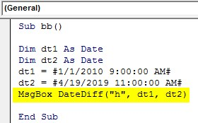 VBA DateDiff Example 1-8