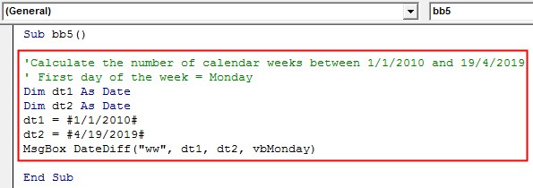 VBA DateDiff Example 2-10