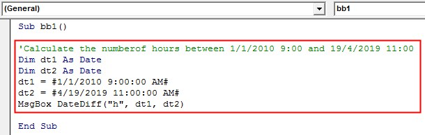 VBA DateDiff Example 2-6