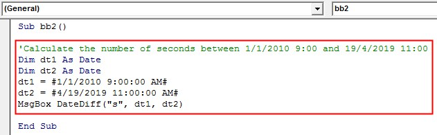 VBA DateDiff Example 2-7