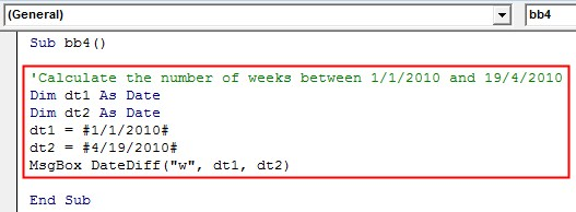 VBA DateDiff Example 2-9