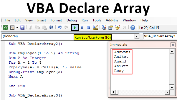 VBA Declare Array