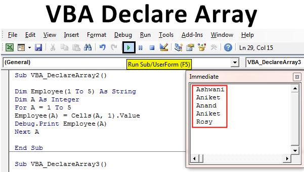 VBA Declare Array | How to Declare Array in Excel using VBA ...